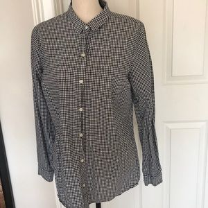 Black and White gingham print button down shirt